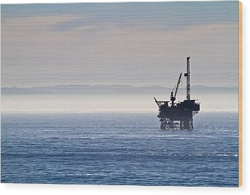 Offshore Oil Drilling Rig Wood Print by Roger Mullenhour