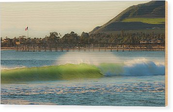 Offshore Wind Wave And Ventura, Ca Pier Wood Print by John A Rodriguez