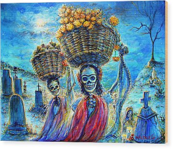 Wood Print featuring the painting Ofrendas by Heather Calderon