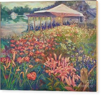 Ogunquit Gardens At Waterside Restaurant Wood Print by Gail Allen