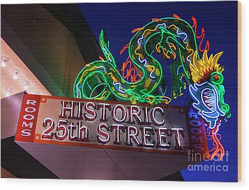 Wood Print featuring the photograph Ogden's Historic 25th Street Neon Dragon Sign by Gary Whitton