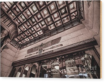 Wood Print featuring the photograph Ogden's Historic Peery's Egyptian Theater At Night  by Gary Whitton