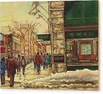 Ogilvys Department Store Downtown Montreal Wood Print by Carole Spandau
