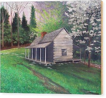 Ogle Homestead Gatlinburg Tn Wood Print by Herb Dickinson