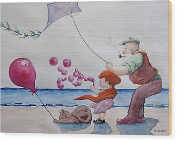 Oh My Bubbles Wood Print by Geni Gorani