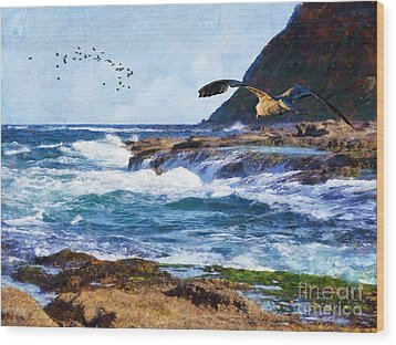 Wood Print featuring the painting Oh The Wind And The Waves by Lianne Schneider