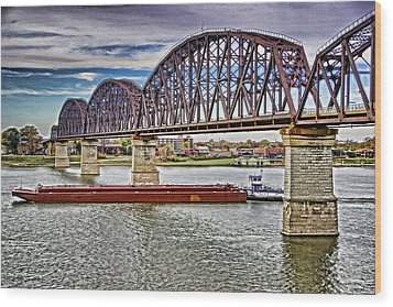 Ohio River Bridge Wood Print by Dennis Cox