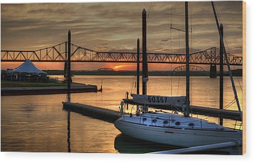 Wood Print featuring the photograph Ohio River Sailing by Deborah Klubertanz