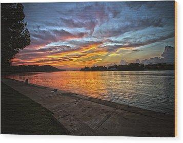 Ohio River Sunset Wood Print