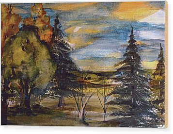 Wood Print featuring the painting Ohio Sunset by Mindy Newman