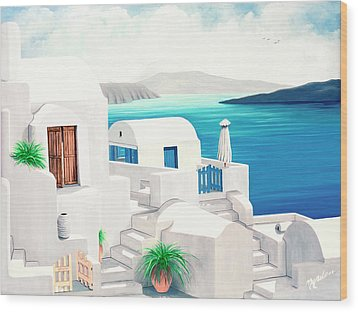 Oia On Santorini - Prints From My Oil Paintings Wood Print