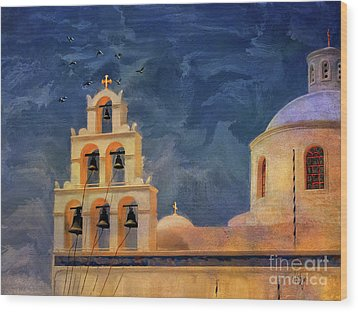 Wood Print featuring the photograph Oia Sunset Imagined by Lois Bryan