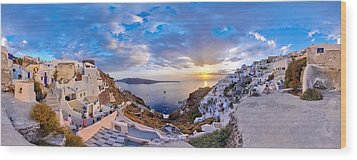 Oia Sunset Wood Print by Milos Novakovic