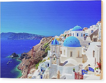 Oia Town On Santorini Island, Greece. Caldera On Aegean Sea. Wood Print