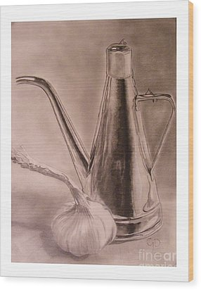 Oil Container And Garlic Wood Print by Crispin  Delgado