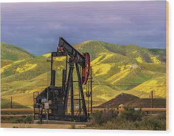 Wood Print featuring the photograph Oil Field And Temblor Hills by Marc Crumpler
