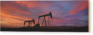 Oil Field Sunset Wood Print by Greg Iger