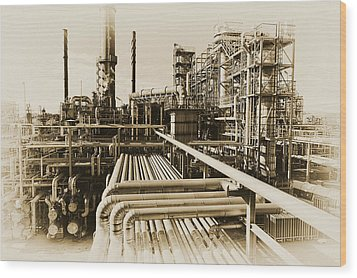 Wood Print featuring the photograph Oil Refinery In Old Vintage Processing Concept by Christian Lagereek