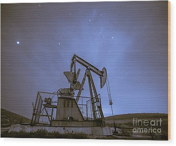 Oil Rig And Stars Wood Print