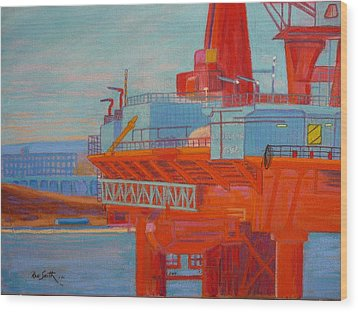 Oil Rig In Halifax Harbour Wood Print