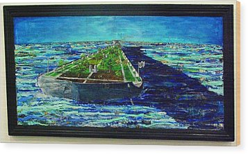 Oil Tanker Island Wood Print by Samuel Miller