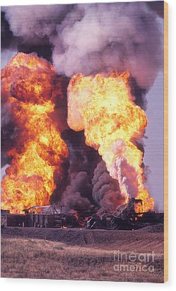 Oil Well Fire Wood Print