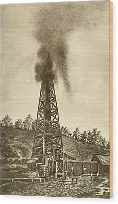 Oil Well With A Gusher In The Oil Wood Print by Everett