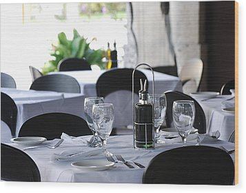 Wood Print featuring the photograph Oils And Glass At Dinner by Rob Hans