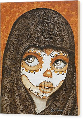 Wood Print featuring the painting Ojos Brillantes by Al  Molina