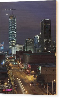 Okc Evening Wood Print by Ricky Barnard