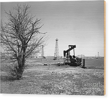 Oklahoma Oil Field Wood Print