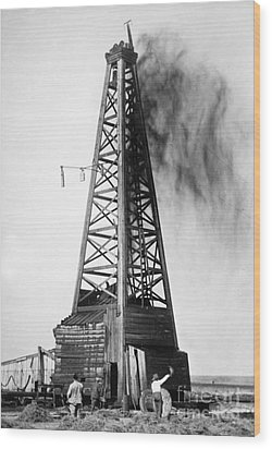 Oklahoma: Oil Well, C1922 Wood Print by Granger