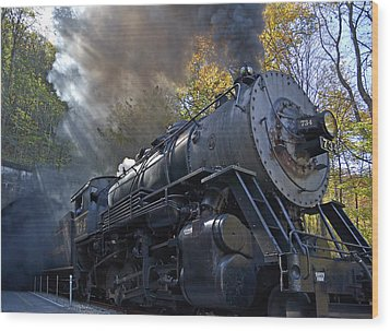Old 734 Locomotive Train On The Western Maryland Scenic Railroad Wood Print by Brendan Reals