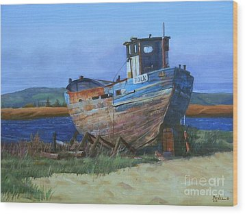 Wood Print featuring the painting Old Abandoned Boat by Noe Peralez