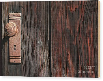 Old Amboy Grange Door  Wood Print