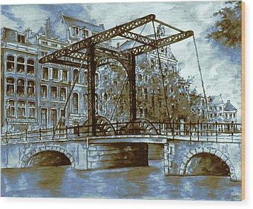 Old Amsterdam Bridge - Dutch Blue Water Color Wood Print