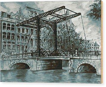 Old Amsterdam Bridge In Dutch Blue Water Colors Wood Print