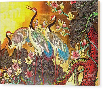 Old Ancient Chinese Screen Painting - Cranes Wood Print by Merton Allen