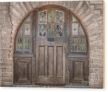 Old Archway And Door Wood Print by Sandra Bronstein