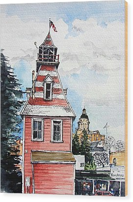 Wood Print featuring the painting Old Auburn Firehouse by Terry Banderas