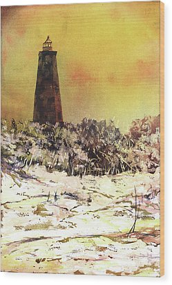 Wood Print featuring the painting Old Baldy Lighthouse- North Carolina by Ryan Fox