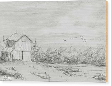 Old Barn 2 Wood Print by BJ Shine