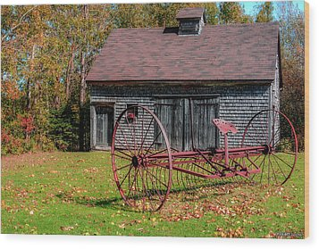 Old Barn And Rusty Farm Implement 02 Wood Print by Ken Morris