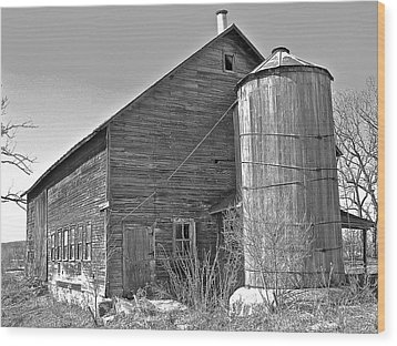 Wood Print featuring the photograph Old Barn And Wood Stave Silo by Randy Rosenberger
