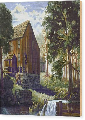 Old Barn At Riverbend Wood Print by Donn Kay