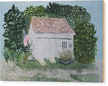 Wood Print featuring the painting Old Barn In Eastham Ma by Donna Walsh