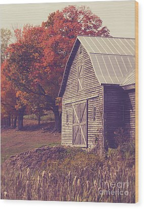 Old Barn In Vermont Wood Print by Edward Fielding