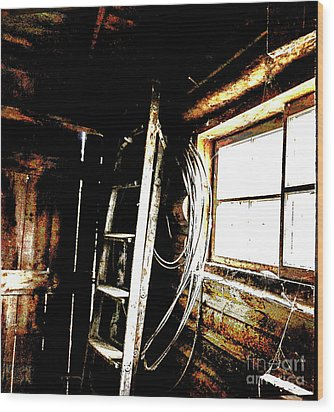 Old Barn Ladder Wood Print