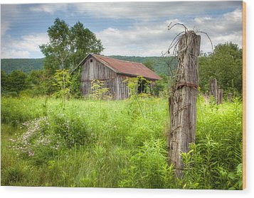 Wood Print featuring the photograph Old Barn Near Stryker Rd. Rustic Landscape by Gary Heller