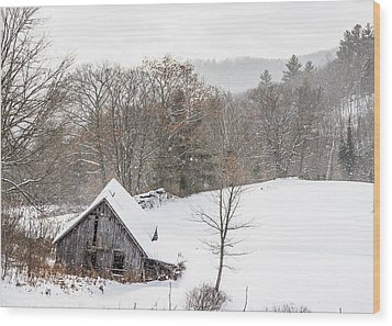 Old Barn On A Winter Day Wide View Wood Print